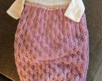 Take home outfit, layette gown, newborn or 3 month layette, crochet baby bodysuit, baby sack