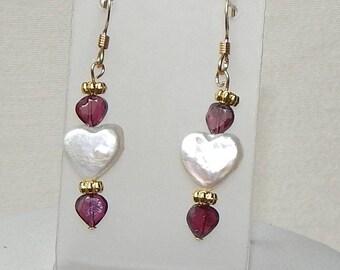 Valentine earrings,Valentine heart earrings,Pearl heart earrings,Garnet heart earrings,Pearl and garnet heart earrings,Designer earrings