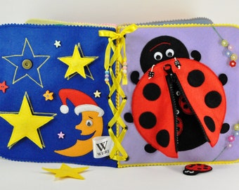 Quiet Book/ 12 pages/ Busy Book/ Activity/ Montessori/ Fabric Book/ Travel Toy