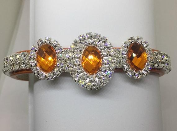 Cutie Pie Pet Collars TM ~Orange Diamond Sparkle~ Crystal Diamante Rhinestone Pet Dog Cat Collar USA