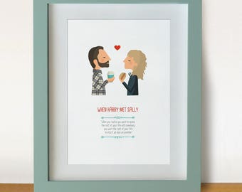 illustration, print, When Harry met Sally, Rob Reiner movie, Tutticonfetti, Wall art, Hanging wall, Printed art, Decor home, Gift idea