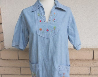 70s Smock Top Embroidered Chambray Hippie Shirt M-L