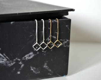 Simple Gold Filled Square Charm Threaders | Sterling Silver Threader Dangle Earrings | Small Square Thread Earrings