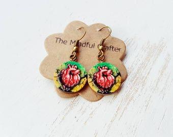 Anatomical heart earrings. heart dangle drop earrings. Body organ earrings.  Medical gift. Wooden hand painted  jewellery.