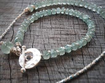 Aquamarine Gemstone Braclet - Feminine Handmade Jewelry - Gem and Sterling Silver Braclet