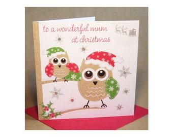 Christmas Mum Card  (jewelled)
