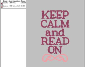 Keep Calm And Read On Applique And Saying Reading Pillow Machine Embroidery DIGITAL FILE