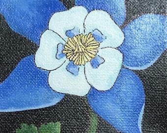 Colorado state flower, Colorado art, Colorado gift, columbine, blue columbine, blue flower, columbine art, flower art, Mother's Day gift