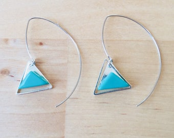 Silver and turquoise triangles earring