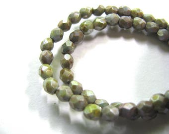 Glass beads, Czech glass, 50 beads, 4mm, faceted, misty green, Jewelry supply B-1872