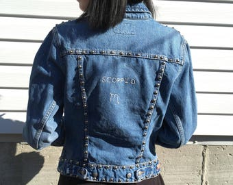 Scorpio studded hand embroidered jean jacket