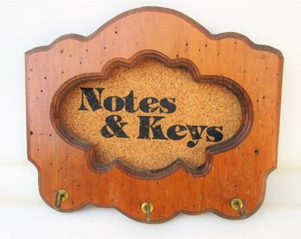 Vintage Wall Rack | Key Rack | Wood Key Holder | Hanging Key Rack | Corkboard Organizer | Cork Board | Hanging Hooks