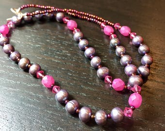 Berry Bliss Freshwater Pearl and Swarovski Crystal Necklace