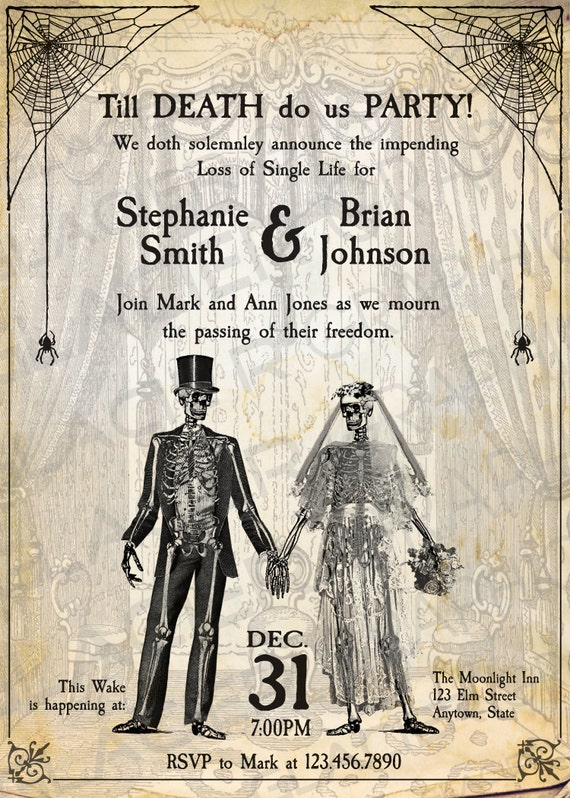 Skeleton Till Death Do Us Party Engagement Party Invitations