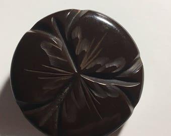 1 1/2in Carved Vintage Bakelite Button