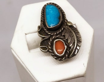 """Vintage Native American Turquoise Red Jasper Sterling Silver Ring Size 5-3/4"""""""