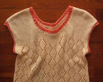 women's vintage peach knit top