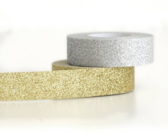 Gift Wrap Silver Glitter Tape for Crafting, Presents and Finishing Touches