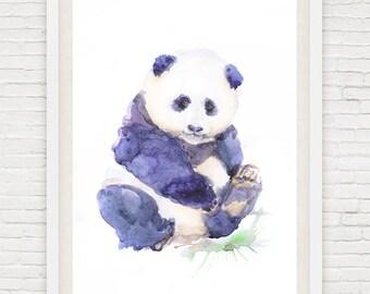 Baby Panda Art Watercolor Painting Boy Girl Nursery Decor Print Watercolour Animals Bear Wall Gift Ideas Animal Prints Valart