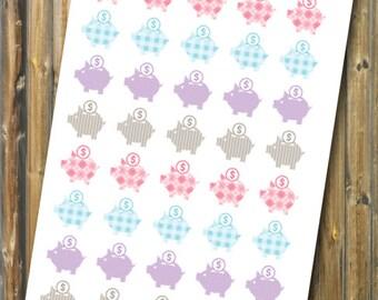 Piggy Bank Planner Stickers