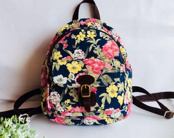 Backpack for women, Flowers fabric backpack, Blue backpack ,Shoulder bag, Handbag for women, Gifts  for her, Canvas backpack women