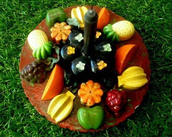 Handmade Fruits and Flowers spell candle holder, wiccan, pagan