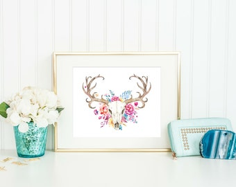 Deer Skull - Deer Skull Print - Watercolor Deer Head - Tribal Print -  Boho Printable - Boho Wall Art - Boho Wall Art - Gift Under 20