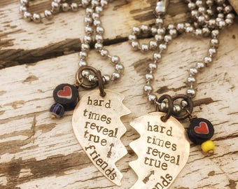 ON SALE Hard times reveal true friends - hand stamped - set