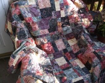Scrappy batik throw quilt handmade batik quilt