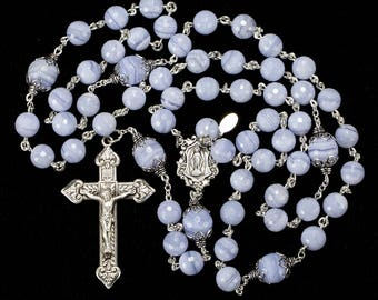 Blue Lace Agate Rosary - Handmade, Heirloom 5-Decade Rosaries Gift for Catholic Mothers - Sterling Silver, Miraculous Medal Center, Crucifix