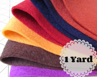 1 Yard 100% Merino Wool Felt - Cut to order - You Choose Color