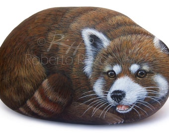 Rock Painted Red Panda | Stone Painting Art by Roberto Rizzo