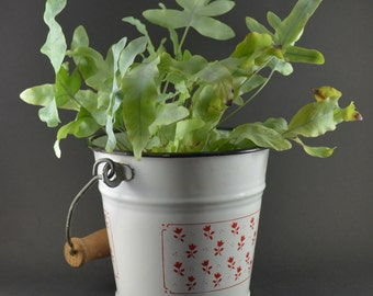 Enameled Bucket Small, Vintage Enamelware, Mini Bucket, Red Flowers on White Enamel Finish, Vintage Kitchenalia, Repurposed Pail Planter