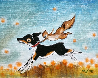 Happy Day- PRINT 8x10, art print, dog art, dogs