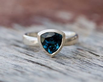 Blue Topaz Ring -  London Blue Topaz Ring - Blue Topaz Trillion Ring - Sterling Silver - Made to order - FREE SHIPPING