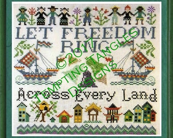Freedom Sampler- Independance, 4th of July /liberty bell/ children freedom/ little house/ trees flowers/ Cross-stitch/ Counted-thread