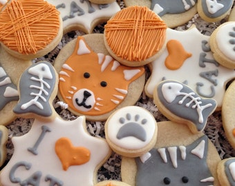 I Love Cats Decorated Cookies