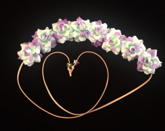 Light Blue and Purple Flower Power Bohemian HeadBand - Flower Crown -Halo