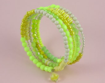 Chartreuse Memory Wire Bracelet - stacked coils bangle, yellow green, mixed beads, layered beaded look, sunny summer jewelry, boho bohemian