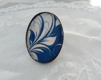 Oval Adjustable ring with blue floral glass cabochon