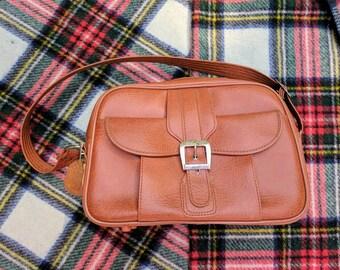 Vintage Brown Leather Overnight Travel Bag || Weekend Bag || Carry-On Bag