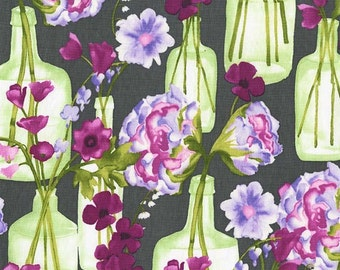 Posie Bouquet in Charcoal (cj6662) - VIGNETTE by Laura Gunn - Michael Miller Fabrics - By the Yard