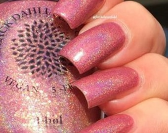 Warm Peach Holo Nail Polish with Flakies and Micro Glitter -- Lokelani
