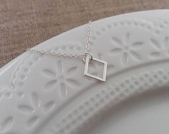 Tiny Silver Diamond Necklace, Silver Geometric Necklace, Geo Jewelry, Diamond Pendant, Layering Necklace, Sterling Silver, Christmas Gift