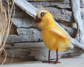 Bright yellow chick, needle felted
