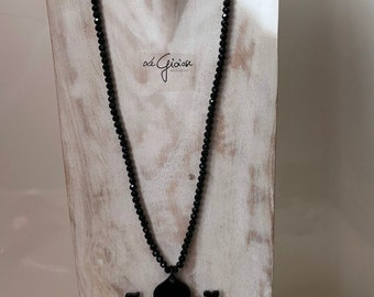 Black crystals necklace/black necklace/bone necklace/necklace with Florentine Lily logo