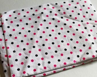 Destash Fabric, Hot pink and Black Polka Dots