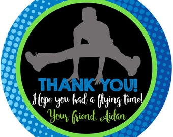 JUMP Trampoline Party Personalized Stickers , Flying Blue Party Favor Personalize Labels