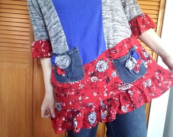 Floral Top 1x Recycled Cotton Spandex Knit Silk Handmade Womens Plus Clothing Royal Blue Red Gray Flower
