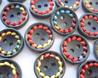 18mm Round Painted Buttons with Colourful Thread, 2-hole Black Wooden Buttons, Pack 0f 6 Colourful Black Buttons W1805